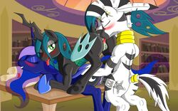 alicorn ass changeling equine friendship_is_magic group_sex horn horse lolmaster mammal my_little_pony original_character penis pony princess_luna_(mlp) pussy queen_chrysalis_(mlp) table wings zebra