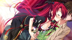 blood blush braid breasts closed_eyes female game_cg gem jewel long_hair luce_yami_asutarite magical_marriage_lunatics!! red_hair yamakaze_ran