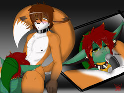 anthro brown_hair canine collar ctarl-ctarl drooling duo elbow_gloves erection fellatio fox fur furry gay gloves hair hybrid legwear male mammal oral oral_sex penis rubber saliva scalie sex studded_collar thigh_highs trooper_(yifftrooper501) yifftrooper501