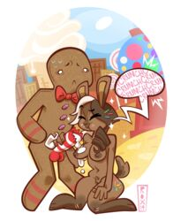 balls bonbon_(hollandworks) bow_tie breasts candy candy_cane closed_eyes duo erection female food gingerbread_man kneeling lagomorph male mammal nude penis rabbit standing text wildroxann
