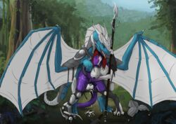 2014 anthro armor arun_(tokaido) balls blue_eyes breasts claws clothed clothing cum cum_inside digitigrade dragon forest from_behind half-dressed herm horn intersex lying on_back penis polearm rider/mount_relations rumiir scalie sheath spear tokaido tongue tongue_out tree uncensored wings