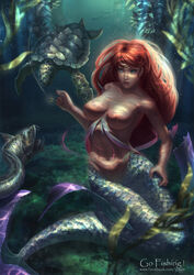 breasts highres long_hair mermaid monster_girl nipples original red_hair regition ring sea_turtle topless turtle