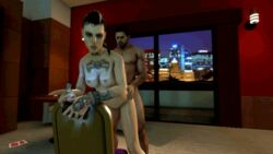 3d amatori animated bracelet capcom cellphone chair chris_redfield city clara_lille crossover doggy_style female indoors leaning mohawk night nude piercing resident_evil source_filmmaker standing sweat tattoo two_tone_hair ubisoft watch_dogs window