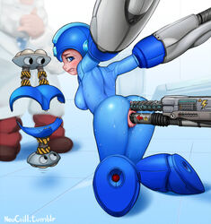 anal anal_insertion anus ass blush capcom clenched_teeth double_penetration electricity electrostimulation genderswap looking_back neocoill pussy rape restrained rockman rockman_(character) rule_63 sex_machine sideboob sweat tears thomas_light uncensored vaginal_insertion vaginal_penetration