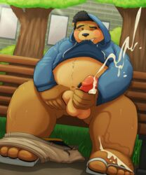 balls bear bench chubby clothing cum cum_on_self cumshot damingo erection hoodie humanoid_penis jacket male mammal masturbation orgasm outside pants pants_down penis public seated shirt shirt_lift solo