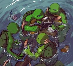 anthro bathing brothers donatello_(tmnt) erection father_and_son gay group leonardo_(tmnt) male mammal michelangelo_(tmnt) penis raphael_(tmnt) rat reptile rodent scalie sibling sneefee splinter teenage_mutant_ninja_turtles turtle water