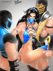 2boys abs armlet black_hair bottomless buttjob cleavage earrings female fusrodin hairband highres kitana looking_back mask mortal_kombat nail_polish netherrealm_studios ninja pants_down scorpion_(mortal_kombat) sex sub-zero thighhighs threesome veiny_penis very_long_hair white_eyes