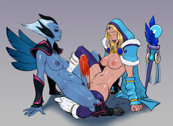 2girls blonde_hair blue_skin boots bottomless cape crystal_maiden disembodied_penis dota_2 double_grinding forehead_jewel fur_trim grinding hood hooves izra multiple_girls navel open_mouth penis purple_legwear red_eyes shoulder_pads smile spread_legs thighhighs vengeful_spirit white_hair wings