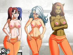 3girls animal_ears batman_(series) blue_eyes blue_hair breasts brown_eyes brown_hair cheetah dc fur harley_quinn jadenkaiba large_breasts multiple_girls navel nipples open_mouth prison_clothes purple_eyes red_hair standing topless translucent_hair twintails two-tone_hair undressing white_hair white_rabbit wonder_woman_(series)