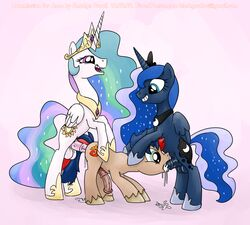 cum friendship_is_magic group group_sex herm intersex male my_little_pony oral original_character princess_celestia_(mlp) princess_luna_(mlp) rape_face sex smudge_proof spitroast threesome