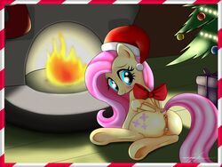 anus ass blue_eyes blush bow christmas clitoris cutie_mark equine female fluttershy_(mlp) friendship_is_magic furry looking_at_viewer looking_back my_little_pony pegasus pink_hair pony pussy rainingskys ribbon smile wings