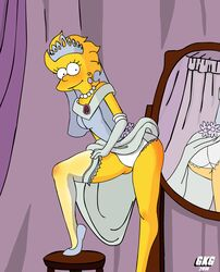 aged_up gkg lisa_simpson mirror panties skirt_lift solo stockings the_simpsons wedding_dress white_panties