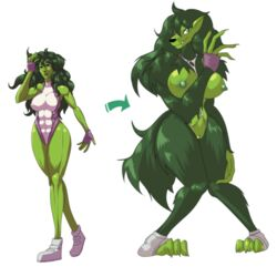 anthro big_breasts breasts canine clothing erect_nipples female green_eyes green_hair hair hi_res lemonfont leotard mammal marvel muscles muscular_female nipples paws pussy she-hulk torn_clothing transformation wolf