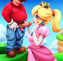 blonde_hair blue_eyes crown dress earrings elbow_gloves female gloves handjob male mario neocoill nintendo open_mouth penis ponytail princess_peach smile super_mario_bros.