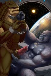 2014 alien balls bound chained collar cureboltium duo erection gorilla grope handcuffs krogan male mammal mass_effect muscles nipples open_mouth pecs penis primate shackles space stars uncut video_games