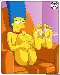 areola blue_hair cum cum_on_feet cumshot excessive_cum feet half-closed_eyes leg long_hair medium_breasts milf nipples perky_breasts plump_vulva pussy smile soles solo the_simpsons thighs uncensored vagina yellow_skin