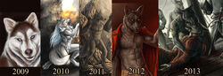2009 2010 2011 2012 2013 2014 anthro armor assault_rifle balls blood blue_eyes brown_fur canine clothes coat dead fur furry grenade grey_fur looking_at_viewer mammal nude rukis sad sheath smile solo solo_focus sword weapon white_fur wolf