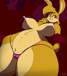 anthro big_breasts breasts camel_toe disembodied_hand female fur furry lagomorph mammal nipple_pinch rabbit slypon solo_focus thick_thighs topless voluptuous wide_hips