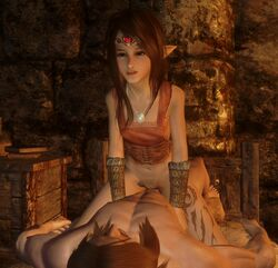 3d anal blush clothed cow_girl earrings elf flat_chest freckles penis red_hair sex skinny skyrim solo_focus