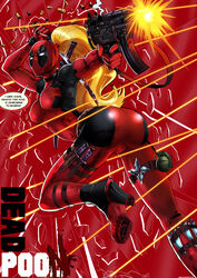 ass blonde_hair blood bodysuit breasts bullets dat_ass deadpool dialog female grenade gun high_heel_boots high_heels katana knife lady_deadpool marvel mask parody ponytail shadman shooting shuriken skin_tight solo sword therealshadman tight_clothes weapon