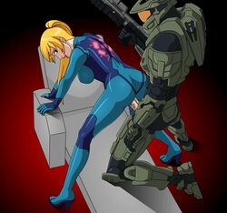 1boy animated armor ass bent_over blonde_hair bodysuit breasts clothed_sex crossover doggy_style eyes female from_behind green_eyes gun halo_(series) helmet high_heels leaning lips looking_back master_chief metroid microsoft mole nintendo open_mouth penis pinoytoons ponytail samus_aran sex skin_tight standing standing_sex uncensored vaginal_penetration veiny_penis visor weapon zero_suit