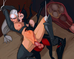aka6 arms_up boots breasts diana dickgirl egg elise erection female futa_on_female futanari impregnation large_breasts league_of_legends licking long_hair navel nipples open_legs oviposition penis red_eyes restrained sex spider_girl spider_web testicles tongue tongue_out torn_clothes vaginal_penetration white_hair x-ray