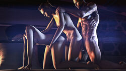 3d all_fours black_hair breasts commander_shepard dickgirl doggy_style erection female from_behind futa_on_female futanari jack jack_(mass_effect) large_breasts large_penis long_hair male male_on_futa mass_effect miranda_lawson mohawk navel nipples nude penis sfmporn source_filmmaker threesome