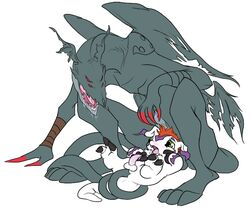 anal anal_sex balls bandai beelzemon_(artist) claws colored crouching devidramon digimon dragon drooling dubcon flat_colors furry_only gay gomamon lying male on_back open_mouth penetration penis saliva seal size_difference tail_sex