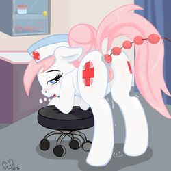 absurd_res anal anal_beads anal_insertion anal_sex anus ass blue_eyes blush clitoris cutie_mark equine female friendship_is_magic furry hair half-closed_eyes hi_res hooves horse insertion inside kyokimute long_hair looking_at_viewer looking_back mammal my_little_pony nurse_redheart open_mouth panting penetration pink_hair pony presenting pussy pussy_juice raised_tail sex_toy solo white_fur