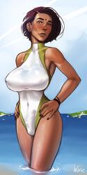 black_hair bulge cameltail earrings futanari hands_on_hip incase large_breasts partially_submerged short_hair solo standing swimsuit tan tanned
