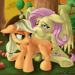 2014 absurd_res apple applejack_(mlp) balls blonde_hair blush cowboy_hat cutie_mark dickgirl dickgirl_on_female duo earth_pony equine female feral fluttershy_(mlp) freckles friendship_is_magic fruit fur green_eyes hair hat hi_res hooves horse intersex long_hair lying mammal my_little_pony on_back ongue orange_fur outside pegasus penetration pink_hair pony resting sex spread_legs spreading tongue tongue_out tree vaginal_penetration vaginal_penetration wings xanthor yellow_fur