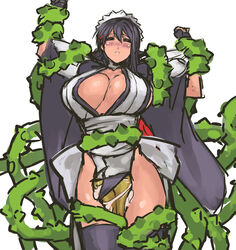 black_hair blush breasts cleavage closed_eyes female full-face_blush hair_ornament hairclip highres huge_breasts iroha_(samurai_spirits) japanese_clothes maid_headdress monster nameo_(judgemasterkou) rape restrained samurai_spirits short_hair solo_focus tied_up vines