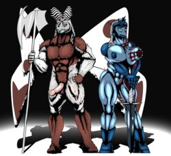 abs abstract_background antennae armor arthropod axe beetle big_breasts blue_eye blue_skin boots breasts female hair insects looking_at_viewer male moth muscles muscular_female nipples nude penis pussy saesar scar scratch shiny sword weapon white_hair wings wounded