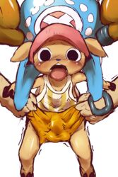 antlers blush bulge cervine clothed clothing dagasi disembodied_hand hat horn mammal one_piece pants reindeer shirt tongue tongue_out tony_tony_chopper trembling
