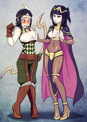 2girls black_hair blush bodysuit boots bow_(weapon) bracelet breast_grab breasts cape circlet female fire_emblem fire_emblem:_awakening gloves high_heels large_breasts loincloth long_hair medium_breasts my_pet_tentacle_monster navel nintendo nipples noire noire_(fire_emblem) short_hair standing tharja weapon yuri