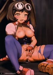 absurdres after_sex animal_ears arm_support bodysuit breasts breasts_outside brown_eyes brown_hair bunny_ears cropped_jacket cum cum_in_pussy cum_on_body cum_on_breasts cum_on_upper_body facial female fingering fingerless_gloves gloves goggles goggles_on_head highres makihara_arina medium_breasts nipples pubic_hair rustle scan shoes short_hair sitting solo spandex tears torn_bodysuit torn_clothes uncensored waku_waku_7