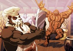 big_muscles blood cooking food garrosh gore humanoid knife male muscles nude orc pandaren video_games warcraft world_of_warcraft