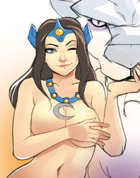;) animal blue_eyes breasts brown_hair cleavage covering covering_breasts crescent defense_of_the_ancients dota_2 female forehead_jewel g138 jewelry large_breasts long_hair mirana mirana_(dota) necklace nude one_eye_closed smile solo_focus tiara tiger white_tiger wink