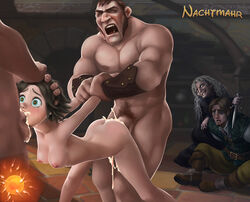 arm_hold ass black_hair blue_eyes breasts cum cum_in_mouth cum_in_pussy cum_inside disney excessive_cum fellatio female flynn_rider flynn_ryder forced_to_watch from_behind head_hold impregnation irrumatio male mother_gothel mouthful nachtmahr nipples nude oral rape rapunzel sex short_hair spitroast stabbington_brothers tangled tears threesome vaginal_penetration virgin witch