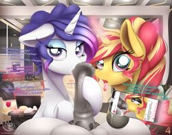2018 absurd_res animal_genitalia animal_penis buttplug cellphone dialogue digital_media_(artwork) english_text equestria_girls equine equine_penis eyelashes eyeshadow female feral friendship_is_magic group hair hi_res horn inside looking_at_viewer makeup male male/female mammal multicolored_hair my_little_pony nevobaster open_mouth oral penis phone rarity_(mlp) sex sex_toy sunset_shimmer_(eg) text tongue tongue_out two_tone_hair unicorn