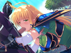 armor blonde_hair blush breasts censored clouds elbow_gloves elf fellatio female game_cg green_eyes hair_grab highres himekishi_angelica ishigaki_takashi large_breasts long_hair looking_at_viewer oral penis pointy_ears shoulder_pads sky squatting standing trees