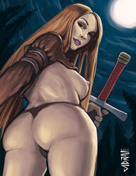 1girl 2014 anus artist_request ass breasts character_request dat_ass female final_fantasy_tactics forest from_below long_hair looking_at_viewer looking_back looking_down moon night nipples red_hair sideboob smile solo sword thong topless weapon