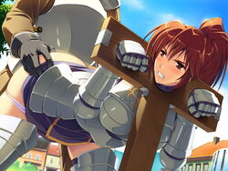 angry armor ass ass_grab bent_over blush breasts brown_eyes brown_hair clenched_teeth clouds female game_cg gloves highres himekishi_angelica ishigaki_takashi long_hair looking_back medium_breasts panties panty_pull pillory ponytail public rape sex sky stocks underwear vaginal_penetration