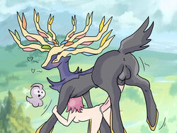 2014 antlers castform cervine deer from_behind huge_cock human outside penis pokemon pokephilia sex straight trainer vaginal_penetration xerneas zoophilia