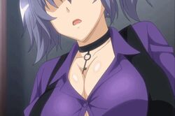 animated animated ass black_bra bounce bouncing_breasts breasts bursting_breasts cunnilingus garter_belt gray_hair huge_ass huge_breasts lingerie moaning ryou_seibai! saliva sex sitting_on_face straining_buttons