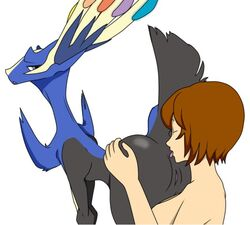 animated anus ass ass_grab blue_fur brown_hair human legendary_pokemon meiko pokemon raised_tail rimming tongue vagina vocaloid xerneas