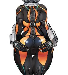 anus arched_back ass big_butt bodysuit from_behind ninja pussy scathegrapes simple_background skin_tight solo spread_pussy valkyr warframe
