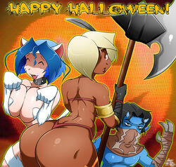 1boy 2girls amazon_(dragon's_crown) armlet ass axe blonde_hair blue_skin breasts capcom catgirl circlet cleavage closed_eyes collar cosplay crossover curvy dark-skinned_female dark_skin darkstalkers dat_ass dragon's_crown fangs felicia gloves gmeen hair_over_one_eye halloween horns huge_breasts incubus legacy_of_kain lili_(gmeen) looking_back mask neko open_mouth pose raziel red_eyes short_hair smile tal_(gmeen) thong vanillaware violet_(gmeen) weapon