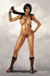 black_hair boots breasts chloe_frazer dieleth female grey_eyes gun hand_on_hip necklace nipples nude parted_lips pubic_hair pussy short_hair shotgun solo standing uncharted weapon weapon_over_shoulder