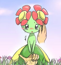 bellossom blush blush_stickers crying_with_eyes_open flower grass hand nectar pokemon pussy_juice tears